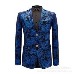 Чистый хлопок высокого класса брендовый деловой мужской вечерние свадебное платье блейзер мужской повседневный цветочный модный костюм