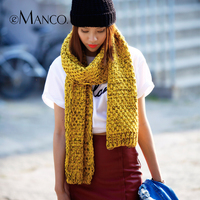 Vintage Double Color Thick Knitting Crochet Wool Scarf Women Neck Warmer Hoop Scarves Winter Girls