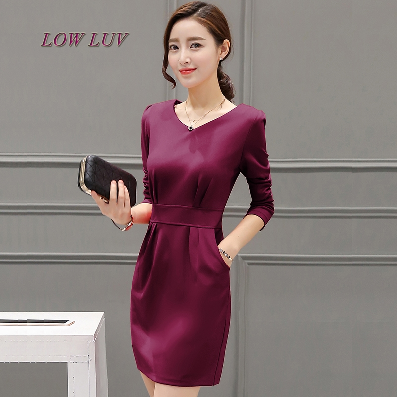 2017 new womens temperament elegant a word large set of long sleeved dress in a long sleeved dress show thin dress tide