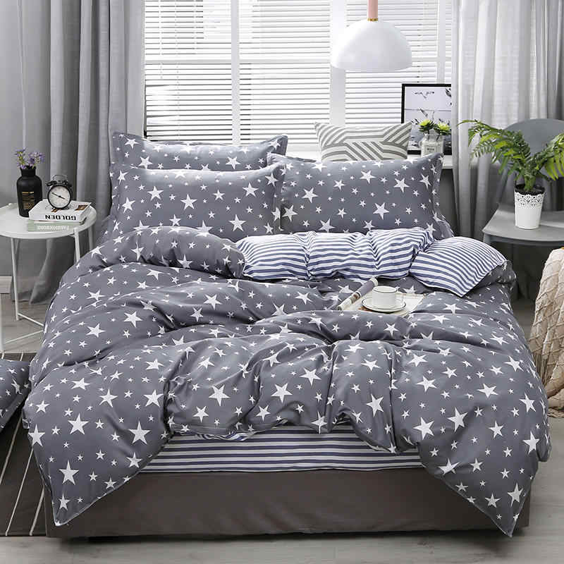 Aloe Cotton Stars Pattern Duvet Cover & Flat Bed Sheet & Pillowcase Soft Skin-friendly Bedding Set Home Textile Wholesale