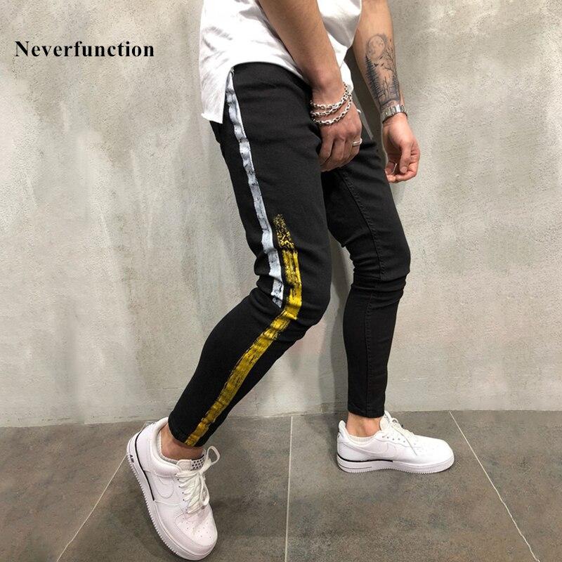 Men new Hip Hop Gold silver coating printed Joggers Denim Pants fashion Black Men Streetwear Stripe Stretch Skinny Pencil jeans