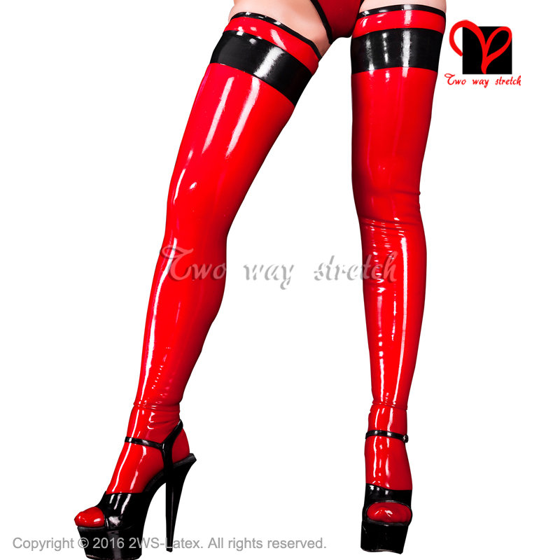 Sexy Latex Stockings Red With Black Stripes Rubber Long High Stockings  XXXL WZ-019