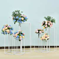 4pcs/set white wedding plinth decoration iron ornaments geometric road lead wedding props T stage decoration