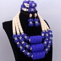 DuDo Королевский синий молочный ювелирный кристалл нигерийские Африканские свадебные украшения набор бусин для невесты для женщин Бесплатн
