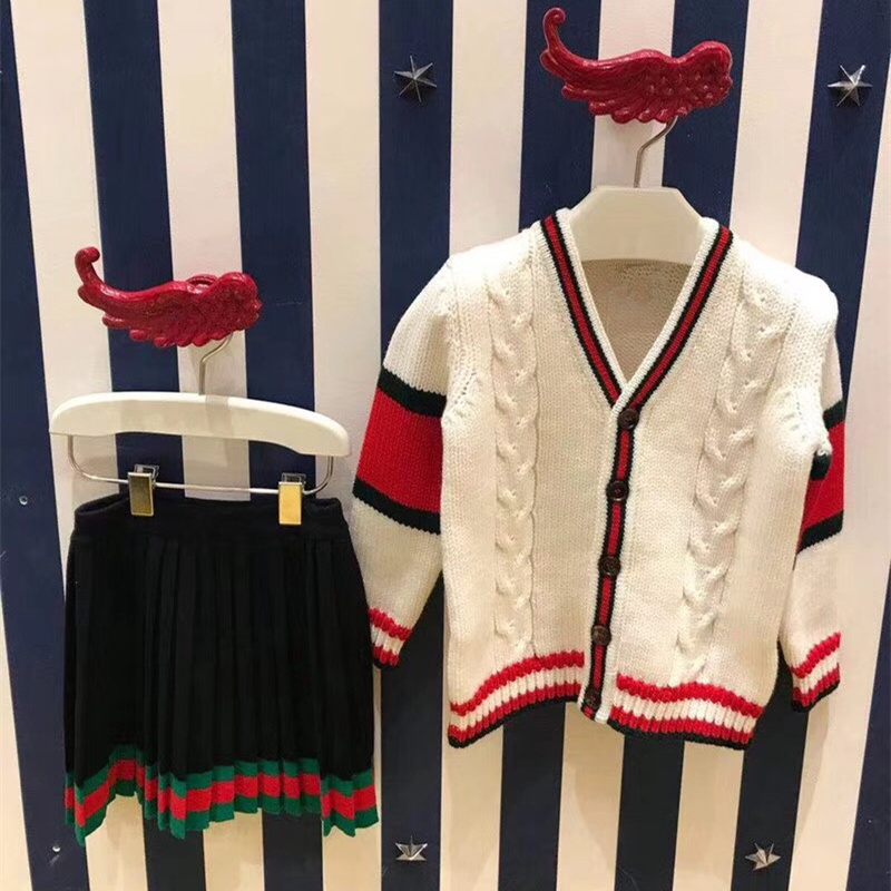 Autumn&Winter Girl College Style Suit Navy Skirt+White Cardigan Sweater Knitting Top&Striped Skirt Girl Kids Wear Tracksuit easter rhinestone flower white top girl pink white dot waist rainbow skirt 1 8y mg1227