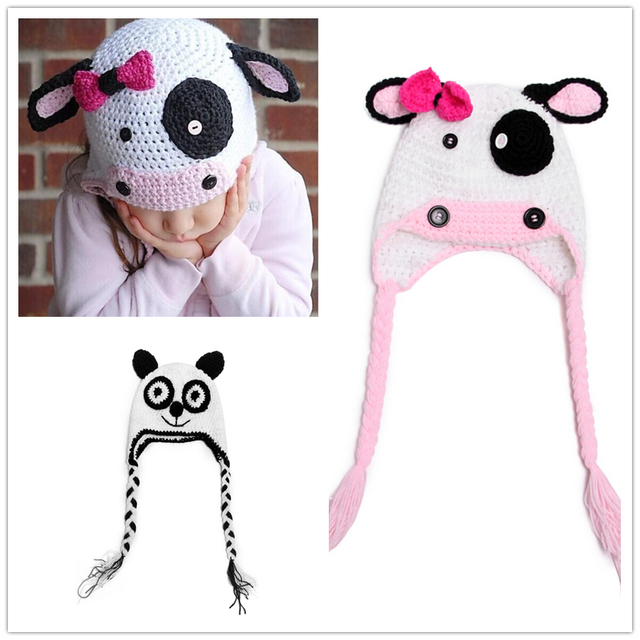 2017 Cute Cartoon bear panda Cow Snowman children\'s hat Girls Boys ...