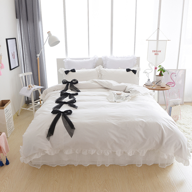 100 cotton lace bedding set girls women king queen twin size bed