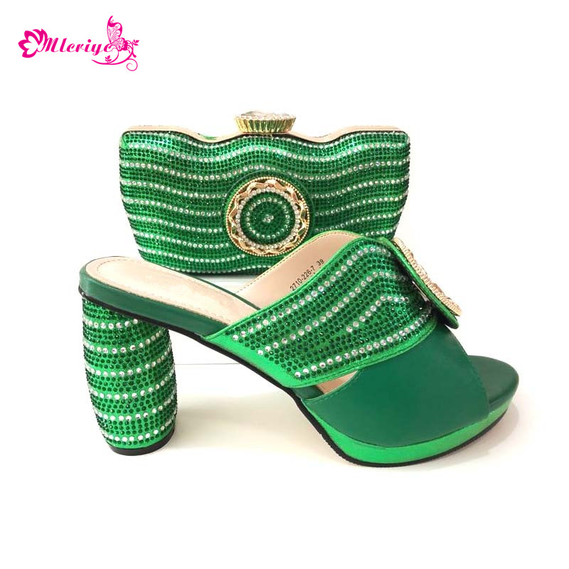 New Arrival Italian Ladies Shoes and Bags To Match Set Decorated with Rhinestone Ladies Shoes with Matching Bags Set for Wedding цена