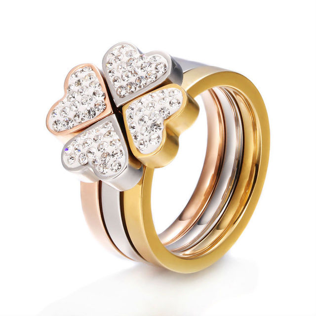 PUR004 high quality wholesale rose gold color jewelry clover three