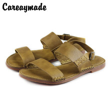 Careaymade-Genuine leather sandals Summer new top Roman flat-soled retro literary and artistic sandals women's casual shoes roman literary culture