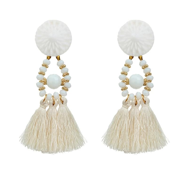 Tassel Earrings For Women Ethnic Big Drop Earrings Bohemia Fashion Jewelry Trendy Cotton Rope Fringe Long Dangle