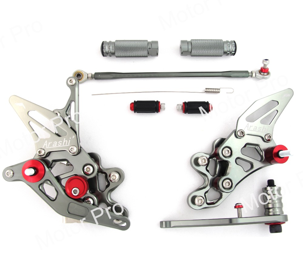 Регулируемый подножки для SUZUKI GSX-R 600 750 2011-2017 2012 2013 2014 2015 2016 Rearset педаль GSX R GSX-R GSXR600 GSXR750 серый
