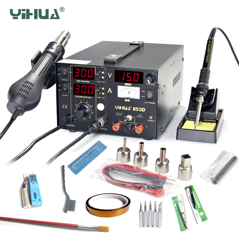 YIHUA 853D BGA Rework Station 3 in 1 SMD Soldering Iron Stations With DC Power Supply Hot Air Gun Rework Station Soldering Tools