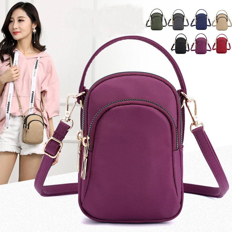 Women's Mini Shoulder Bag Fashion Handbag Messenger Vintage Lightweight Nylon Purse Solid Zipper Waterproof Flap Crossbody Bag