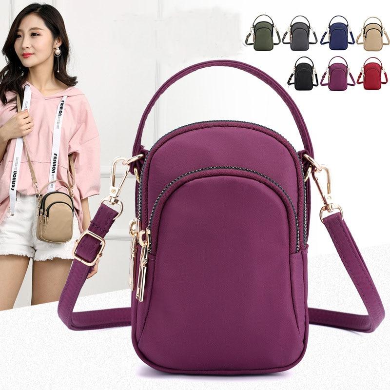 Women's Mini Shoulder Bag Fashion Handbag Messenger Vintage Lightweight Nylon Purse Solid Zipper Waterproof Flap Crossbody Bag
