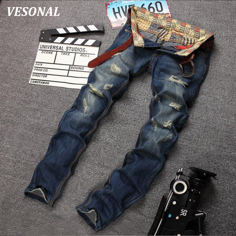 VESONAL 2017 Brand Straight Ripped Denim Biker Hip Hop Swag Men Jeans Pants Fashion Casual Vintage Hole Slim Mens Trousers VE127 2017 fashion mens patch jeans slim straight denim biker jeans trousers new brand superably jeans ripped dark jeans men u329