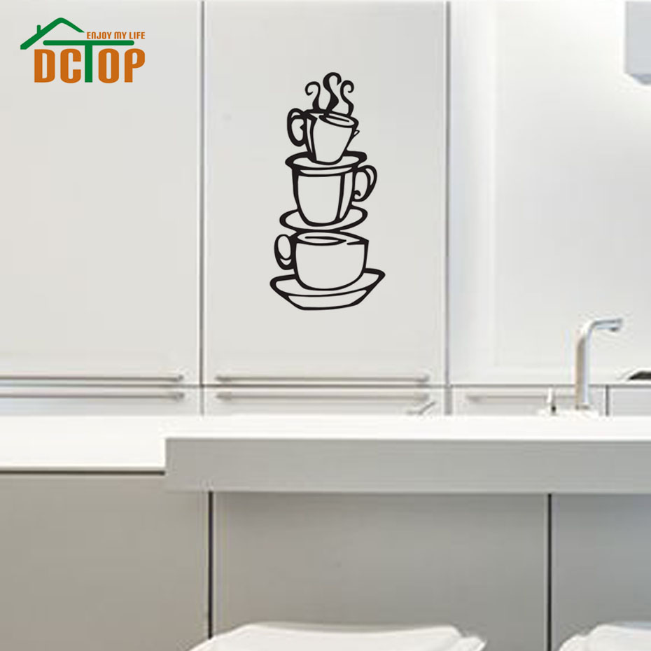 DCTOP COFFEE House Cup Wall Decals Vinyl Stickers Home Decor Wall Paper Kitchen Bedroom Decor Murals
