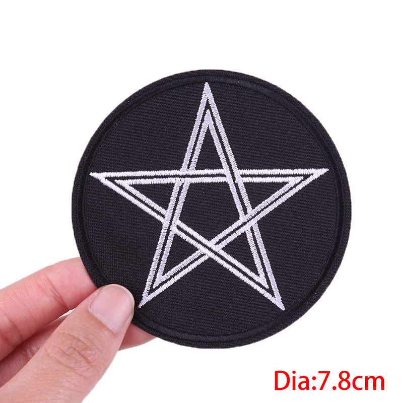 Prajna Hippie Stickers DIY Iron on Patches for Clothing Embroidered Patch to Clothes Black White Badge Garment Accessory Punk F in Patches from Home Garden