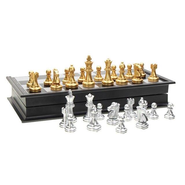 Offre spéciale jeu d'échecs argent or pièces pliant magnétique pliable conseil contemporain ensemble Fun famille jeux de société cadeaux de noël 4