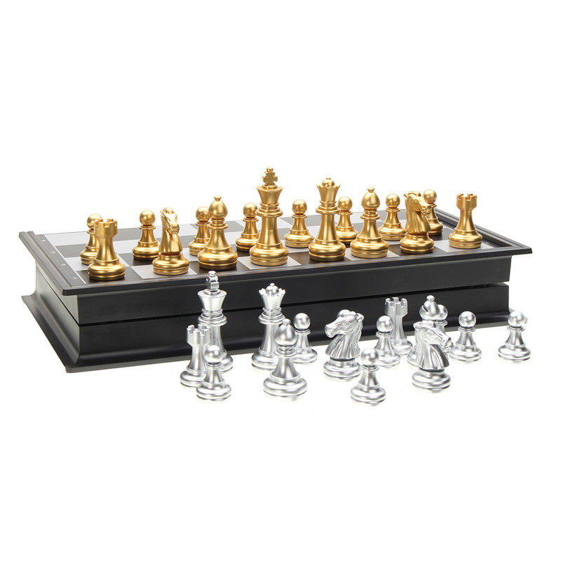 Magnetic Gold and Silver Folding Chess Pieces Set Board Game Toys Gift