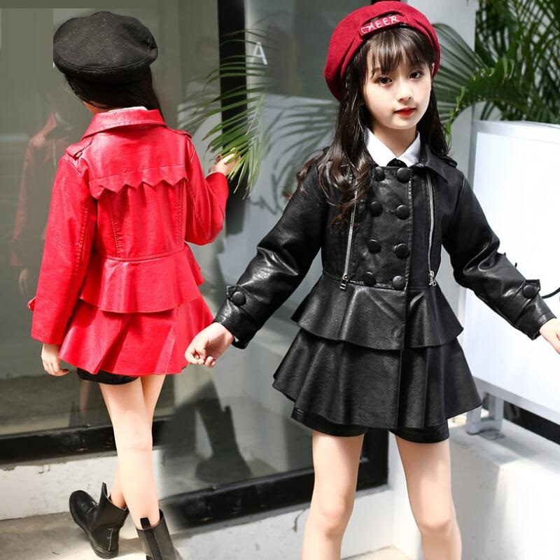 Fashion Cute New 2018 Spring Autumn Long Sleeve Ruffles Coat Kids Big Girls Jacket PU Leather Girl Jackets Child Outfit JW0514 telle mère telle fille vetement