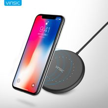 Vinsic Mini Wireless Charger QI Charging Pad สำหรับ iPhone X 8 8 Plus Samsung Galaxy S7/S8/S6 /S6/Note5 EP-NG930 Nexus 6(China)