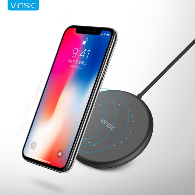 Vinsic мини Беспроводной Зарядное устройство QI зарядного устройства для iPhone X 8 8 плюс Samsung Galaxy S7/S8/S8 +/S6 края плюс/Note5 EP-NG930
