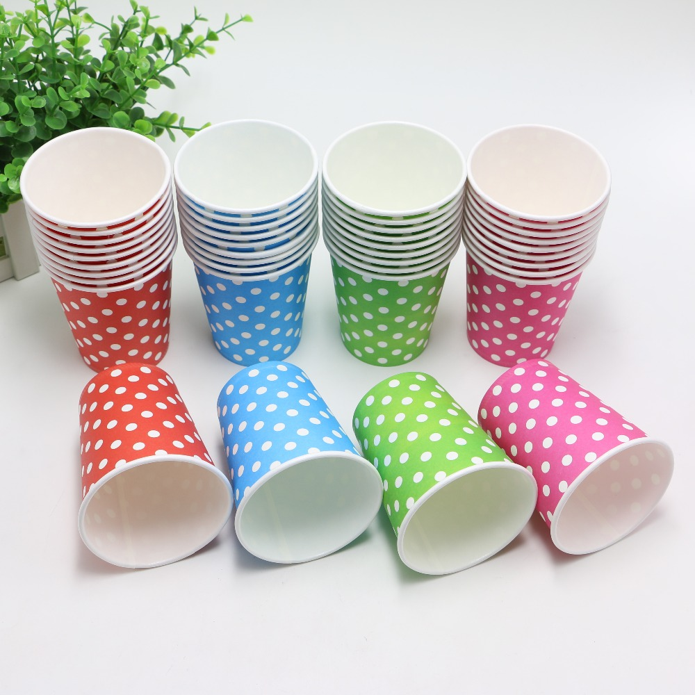 New 10pcs/Lot Blue/Red/Pink/ <font><b>Green</b></font> Disposable Polka Dots Paper <font><b>Cups</b></font> of Degradable Wedding kids Birthday <font><b>Party</b></font> Decoration