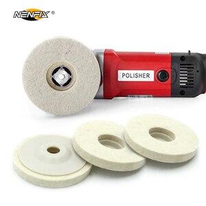 Image 2 - 1/3/5 adet 4 yünü keçe tekerlek disk pedi açısı öğütücü parlatıcı balmumu Metal keçe parlatıcı disk pedi döner aracı aşındırıcı taşlama