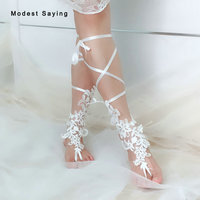 Unique Ivory One Pair Lace Beach Wedding Barefoot Sandals 2018 Beach Wear Wedding Shoes Footwear Anklets Wedding Accessories