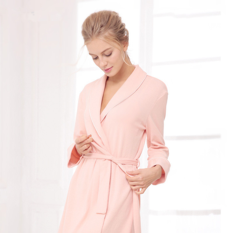 Women Bathrobe V Collar Knitted Cotton Dressing Gown Sexy Wedding ...