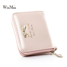 Girls Solid Pattern Bowknot PU Leather Coin Purse Ladies Short Colorful Female Casual Cheap Clutch Hand Purse Wallet