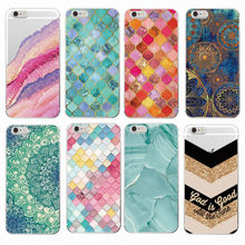 Marble Moroccan Pattern Circular Stars Golden Texture Mermaid  Soft Phone Case For iPhone 7Plus 7 6 6S 6Plus 5 5S 4 5C SAMSUNG