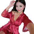 High Quality Sexy Women Silk Nightgown Robe Set Strap Dress + Robe Sleepwear Two Piece Female Nightwear With Belt  0011