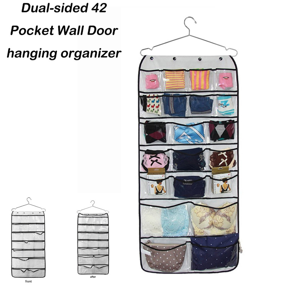 dual sided 42 pocket wall door hanging organizer transparent accessories hanging organizer. Black Bedroom Furniture Sets. Home Design Ideas
