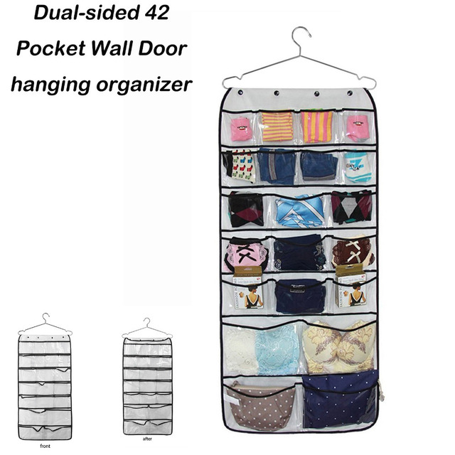 Captivating Dual Sided 42 Pocket Wall Door Hanging Organizer Transparent Accessories Hanging  Organizer Jewellry Home Clothes
