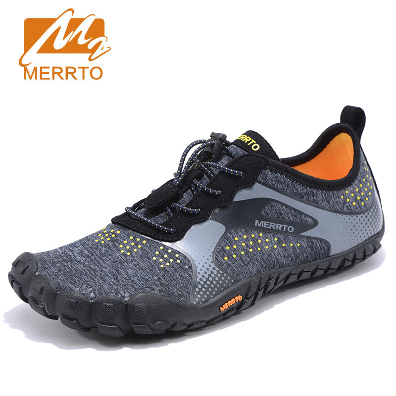 MERROT Men Anti Skid Outsole Five Finger Toes Quick Drying Outdoor Waking Shoe Slip Resistant Breathable Lightweight 5 Toe Shoes chic high waist button design cut out denim shorts for women
