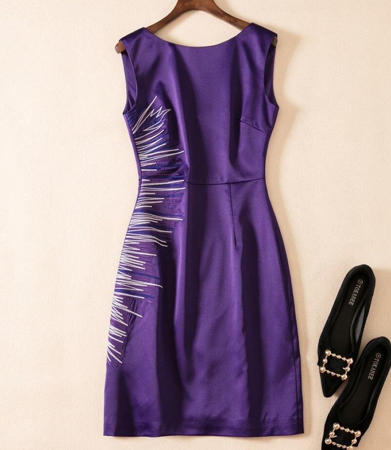 New Women Embroidery Dress Fashion Sheath Sleeveless Purple Dresses k596 jones new york new gray sleeveless women s size 1x plus sheath dress $109