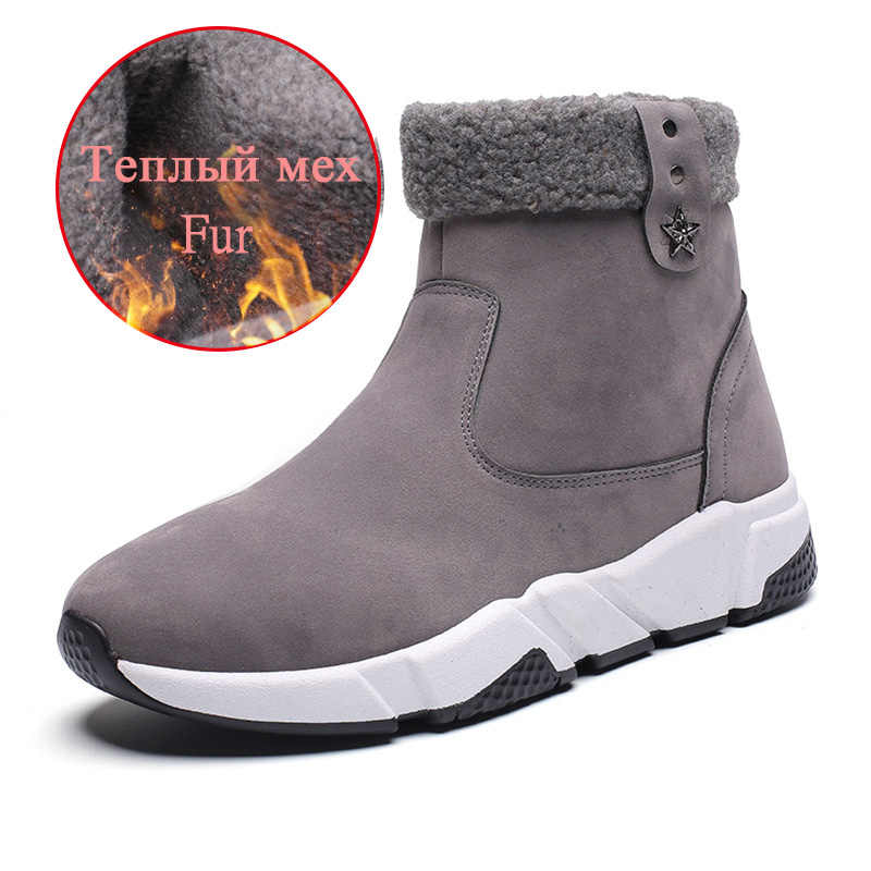 Новые зимние мужские теплые ботинки высококачественные мужские теплые меховые ботильоны на молнии Водонепроницаемая Нескользящая Рабочая обувь Плюшевые мужские зимние ботинки
