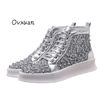 OVXUAN Luxury Brand Youth Autumn High Shoes Platform Leisure Shoes Sequin Rivet Spike Shoes Men Hip Hop Dress Loafers Flat Shoes