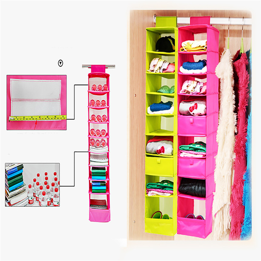 9 Section Shelves Hanging Wardrobe Shoe Garment Organiser Storage Clothes