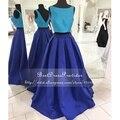 Simples azul royal prom dress 2017 a linha ruiva mangas backless pavimento length cetim africano dois vestidos pedaço de baile