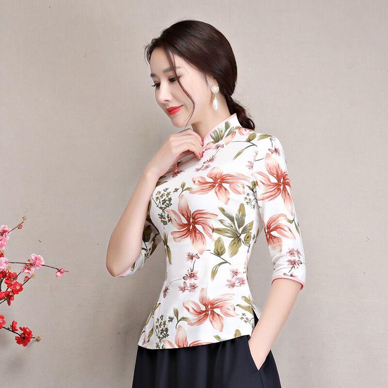 Xl Manga Xxxl Verano Blusa Tops Elegante Lino Imprimir Xxl L 1 2 Ropa Mujer M Algodón Flor Camisa De Delgado Corta Botón S wwUAq