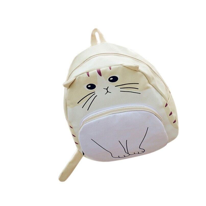 MAFA Lovely Cat Printing Canvas Backpack School Bags Ladies Bookbags Csv Drop F23