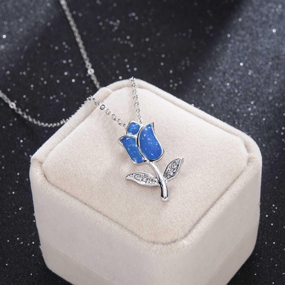 2019 Baru Fashion Biru Resin Berlapis Perak Warna Charm Kalung Liontin Perhiasan Biru Bunga Mawar Pesona untuk Wanita Femme Hadiah
