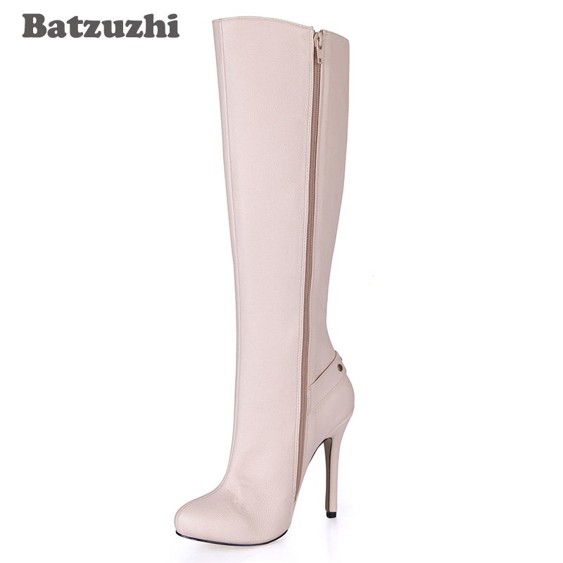 Batzuzhi Beige Fashion Luxury Women Boots Pointed Toe 12cm High Heel Boots Zip Designers Knee-high Boots for Women, Size 35-43Batzuzhi Beige Fashion Luxury Women Boots Pointed Toe 12cm High Heel Boots Zip Designers Knee-high Boots for Women, Size 35-43