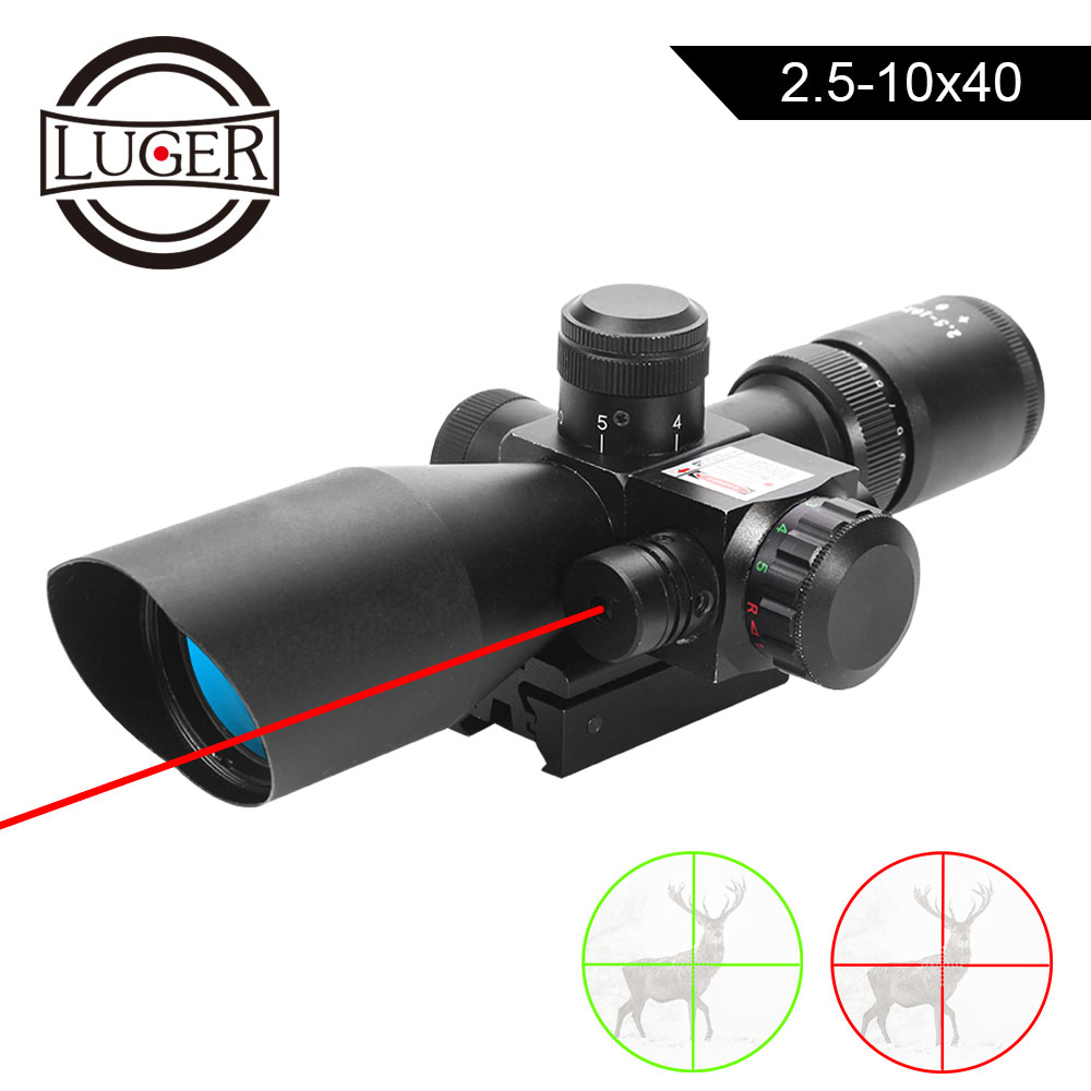 LUGER 2.5-10X40 Riflescope Illuminated Tactical Riflescope With Red Laser Red Green Mil-dot Crosshair Air Gun Hunting Scope