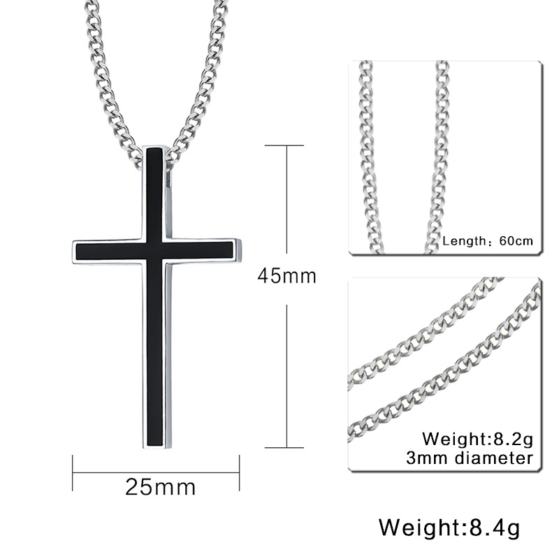 Classic Black Cross Necklace
