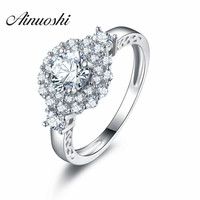 AINUOSHI 925 Sterling Silver 4 Prongs Women Engagement Rings Sona Halo Round Cut Wedding Anniversary Bridal Silver Rings Jewelry