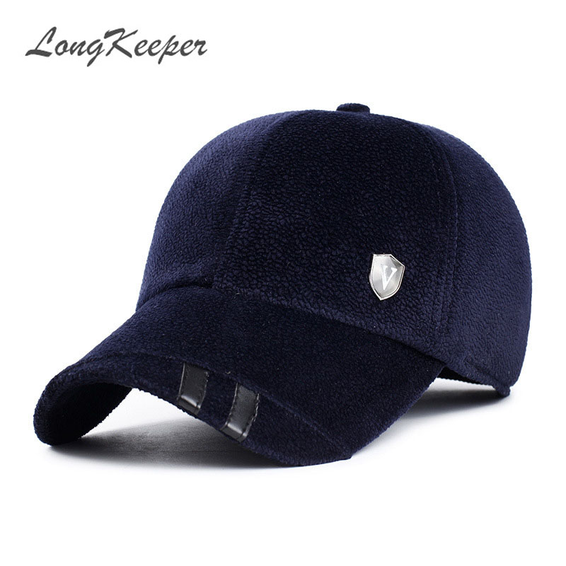 LongKeeper Winter Hats with Ears Baseball Cap Warm Woolen Thick Caps for Men Casquette Gorras OT5 vbiger women men skullies beanies winter hats cap warm knit beanie caps hats for women soft warm ski hat bonnet